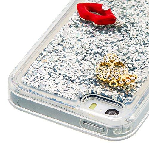 iPhone 5S Hülle, iPhone SE Hülle, Gift_Source [ Lila Bär ] Transparent Weiche Silikon Schutzhülle TPU Bumper Case Schutz Handy Hülle Case, Creative 3D strom flüssiger durchdrungen von glitzer und ster E1-Silber und rote Lippen