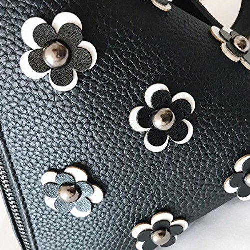Ladies Fashion Casual Leather Triangle Portafogli Portafoglio Borsa A Tracolla,Black Gray