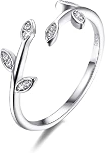 CASSIECA 925 Sterling Silver Ring for Women Girls Adjustable Opening Ring Olive Leaf Ring Cubic Zirconia Ring Nature Plant Series Ring Minimalist Style with Jewelry Box