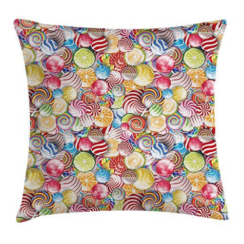 Colorful Home Decor Throw Pillow Cushion Cover, Spiral Sugar Candy Sweets Lolly Pops Dessert Fun Girls Kids Nursery Theme, Decorative Square Accent Pillow Case, 20 X 20 inches, Multi