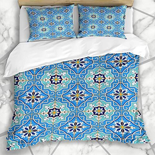 Soefipok Bettbezug-Sets Indigo Keramik wunderschöne Patchwork-Muster blau marokkanische Farbe Vintage spanische feine Wand Arabesque Mikrofaser Bettwäsche mit 2 Kissen Shams -