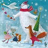 Postkarte 140x140mm ~ Mila Marquis ~ Tiere feiern Weihnachten