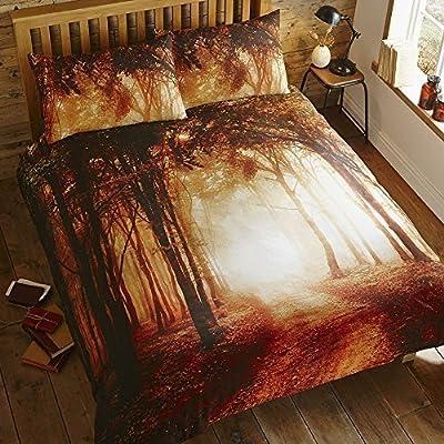 Forest Woodland Trees Print Quilt Duvet Cover Bedding Set - cheap UK light shop.