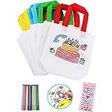 Heatigo Barn tygpåse set, 24 stycken nonwoven väska att måla & 12 färger färgpennor för barn födelsedag gör-det-själv graffit