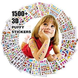 Renook Aufkleber für Kinder 1500+, 20 Verschiedene Blätter, 3D geschwollene Aufkleber, Scrapbooking, Bullet Zeitschriften, Aufkleber für Erwachsene, einschließlich Tiere