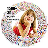 Autocollants 1500+, Stickers 3D en Relief Enfant, Fille Garçon de Grand Lot de 20 Planches Toutes Différentes Scrapbooking, journaux de Balle, Autocollants Adulte, y Compris Les Animaux...