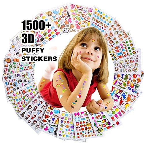 Pegatinas para niños 1500+, 20 hojas diferentes, 3D pegatinas hinchadas, Scrapbooking, Bullet...
