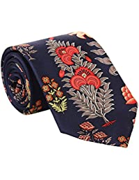 Rohit Bal Men's Pure Silk Tie- Pocket Square - Packed in nice wooden box - Navy Blue (Free Size)