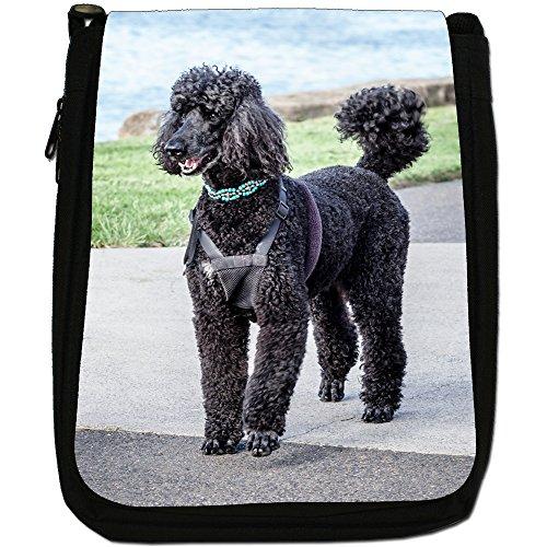 Barboncino caniche barbone Fluffy cane medio nero borsa in tela, taglia M Black Poodle Out On Walk