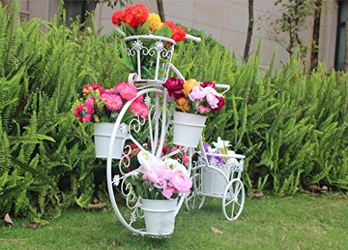 Fahrrad - Stil Blumenrahmen Eisen DIY Blumentöpfe Outdoor Topf Balkon Innen Blumen Regale Home Dekoration Blumen Racks ( Farbe : Weiß )