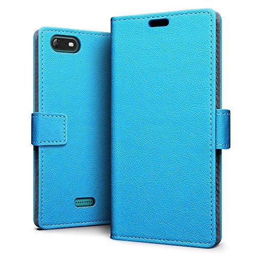 SLEO Wiko Tommy 3 Hülle, PU Leder Case Tasche Schutzhülle Flip Case Wallet im Bookstyle für Wiko Tommy 3 Cover - Blau