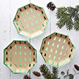 Rustic Christmas - Green Foiled Christmas Tree Design Paper Plates
