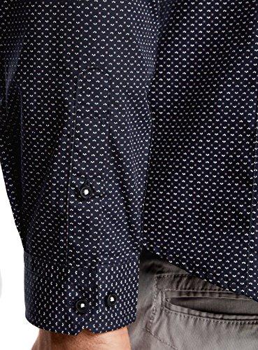 oodji Ultra Herren Bedrucktes Tailliertes Hemd Blau (7933G)