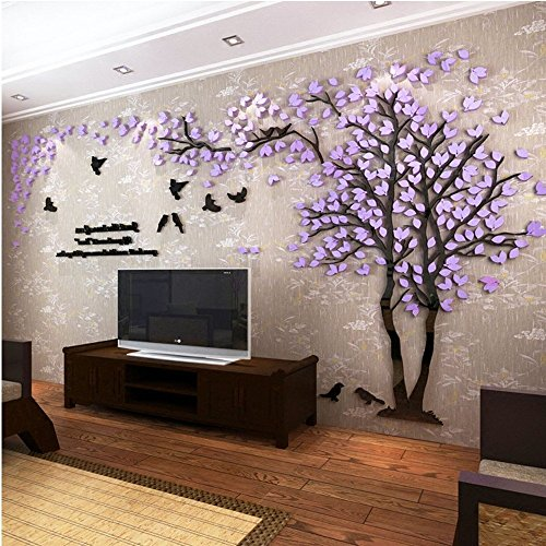 Colorfulworld Giant Tree Wandaufkleber Wall Stickers 3D Baum Wandaufkleber Art Home Decals for Room Decoration DIY Wall Sticker (Lila, Links, L)