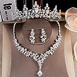 Queen Bride Braut Zirkon Crown Halskette Ohrringe dreiteilige Anzug Hochzeit Kleid Zubehör Frau Dinner-Party-Zubehör