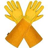 Läderhandskar trädgårdshandskar för kvinnor och män – Isilila andningsbara rosbeskärningshandskar med taggsäker Gauntlet, lån
