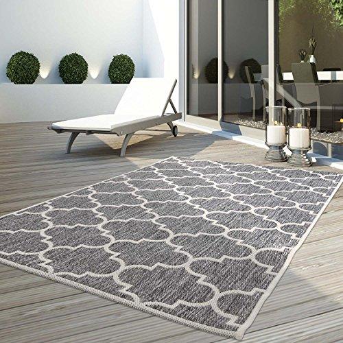 Teppich Flachflor Modern Outdoor fest Geknüpft Outside verschiedene Designs NEU, Größe in cm:160 x 230 cm;Sunset:Gitter-Grau