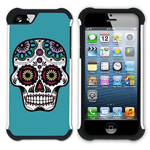 Graphic4You Mexikanische Zuckerschädel Tod (Wasserblau) Hart + Weiche Kratzfeste Hülle Case Schale Tasche Schutzhülle für Apple iPhone SE / 5 / 5S Türkis