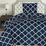 Utopia Bedding Bettwäsche-Set - Mikrofaser Bettbezug und Kissenbezug - (135 x 200 cm, Marineblau)