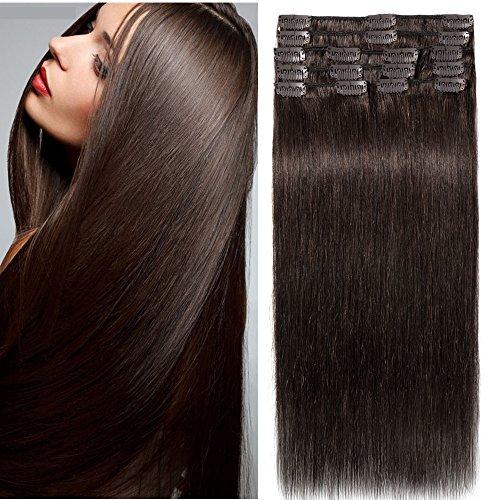 Clip In Extensions Echthaar 100% Remy DOUBLE DRAWN Haarverlängerung 8 Tressen Dick zum Ende Glatt 30cm - 75g - Dunkelbraun #02