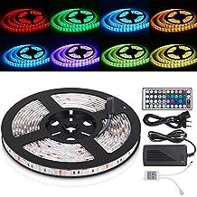 TOPLUS LED Streifen 5M 300LEDs RGB Lichterkette inklusive IR Fernbedienung Empfänger und Netzteil mit EU Stromkabel (SMD5050 Version Ⅱ)
