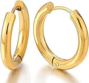 2 Colore Oro Pianura Cerchio Orecchini a Cerchio, Huggie Orecchini da Uomo Donna, Acciaio Inossidabile