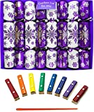Musical Chimes - Purple, Silver and White Snowflake Design Family Christmas Crackers (Craquelins)