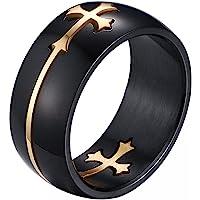 JewelryWe Anello da Uomo Nero d'oro, 8mm Acciaio Inossidabile, Croce Smontabile,2 in 1 Anello Nero,Misura 14-32