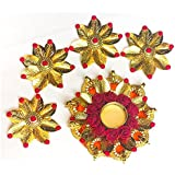 Exquisite Hand Crafted Festive Decor Floating Diya (tealight Candle Holder) Set Decorated With Red Flowers, Golden Leaves, 9 Elephants, Colored Crystals - Set Includes Diya With 4 Decorative Pieces