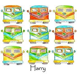 Personalizada de los niños A3, PVC, Alfombrilla, Camper Van de mesa de mantel, manteles individuales, Niños Cualquier nombre y texto añadido