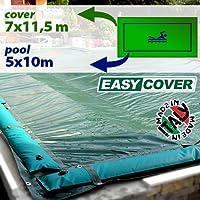 Telo di copertura invernale per piscina 5 x 10 con tubolari perimetrali e fasce anti-ribaltamento