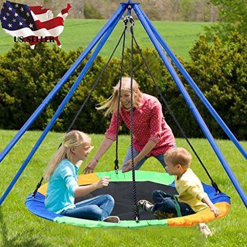 FENSIN 40 \'\' Saucer Hängesessel Tree Swing Flying 660lb Mehrstrangseile Bunt und sicher Schaukel bis 300 kg belastbar