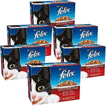 Felix Emincés en gelée Repas pour chat adulte Thon, Boeuf Saumon, Poulet 12 x 100 g - Lot de 6 (72 sachets fraîcheurs)