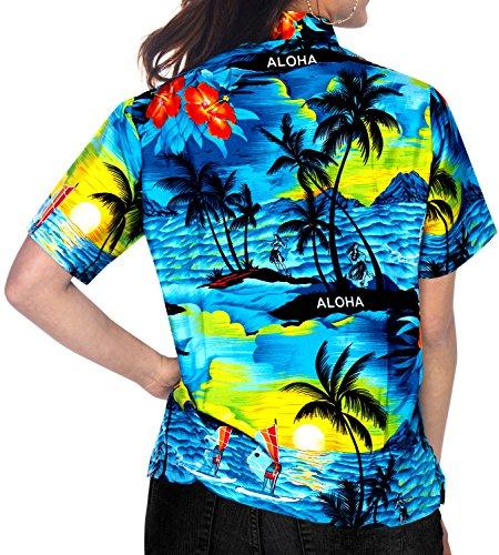 La Leela beiläufige weiche, glatte likre Aloha Kreuzfahrt Hibiskus Frauen  Knopf unten kurze Ärmel Tunika ...