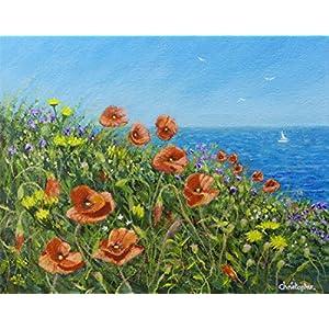 Blumen am Meer - Original kleine Malerei.