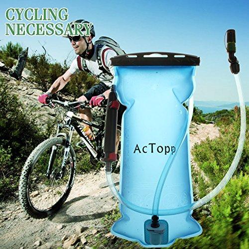 AcTopp Trinkblase 2L FDA genehmigt lecksicher Trinkbeutel mit Filter Wasserreservoir Rucksack Trinksystem für Rucksack - 6