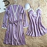 OME&QIUMEI Frauen Kleid Set Nachthemd + Bademantel Zweiteilig Seitlich Satin Gepolsterte Ladies Night Tragen Kleidung Zu Hause Lila Xl Set