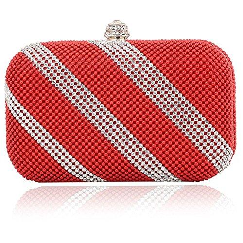 ERGEOB® Donna Clutch sacchetto di sera borsetta sacchetto di spalla Clutch colorato Pailletten piccola Donna Clutch taschino rosso