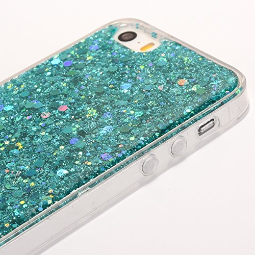 Custodia iphone 6S 4.7, Cover per iphone 6 Silicone, iphone 6S Glitter Cover, MoreChioce Moda Glitter Sparkle Bling bling Brillante Morbido 3d Gel TPU Silicone Gomma Cover Case Custodia per iphone 6 4 B-Verde