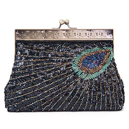 Damen Edle Perlen Pailletten Pfau Abend Clutch Party Taschen (Tasche Perlen Vintage Abend)