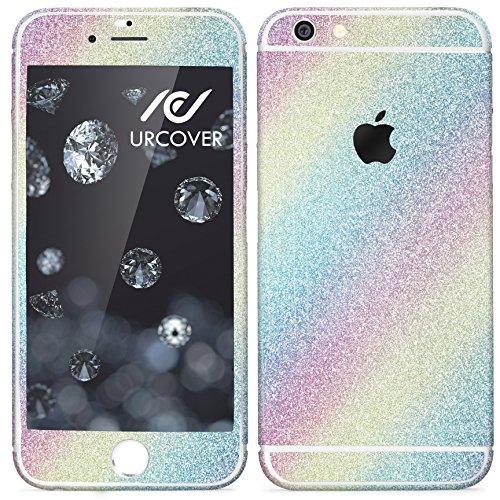 Urcover® Glitzer-Folie zum Aufkleben kompatibel mit Apple iPhone 7 Plus Folie in Rainbow | Zubehör Glitzerhülle Handyskin Diamond Funkeln Schutzfolie Handy-Schutz Luxus Bling Glamourös