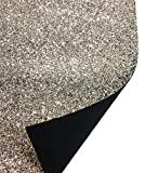 A-Express Tela Purpurina Lentejuelas Manualidades Vinilo Hoja Bolso decoración pared Costura Material - Plata Rollo completo (210mm x 1350mm)