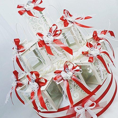 Sindy bomboniere lanterne in metallo bianche con luce a led con albero della vita torta bomboniera cresima (torta completa)