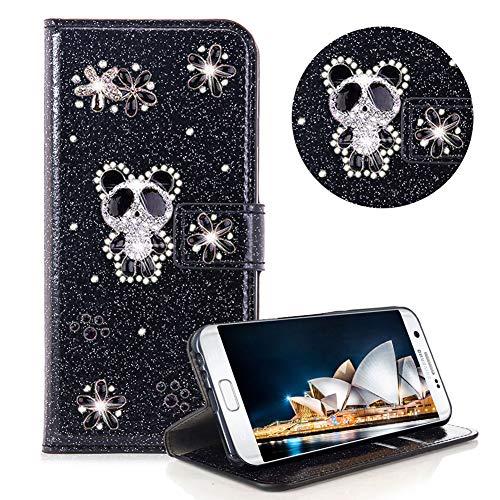 Glitzer Strass Brieftasche für Galaxy S7,Schwarz Leder Handyhülle für Galaxy S7,Moiky Luxus 3D Magnetisch Kristall Niedlich Panda Blumen Diamant Hülle mit Kartenfächer Ständer (Glitter Geldbörse Schwarz)