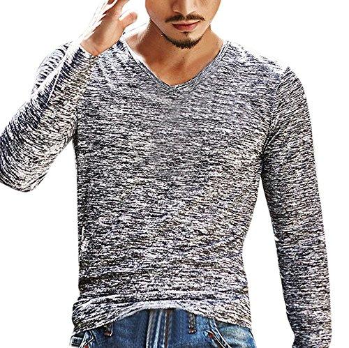 Kobay Herren Solide V-Ausschnitt Langarm T-Shirt Top Schlanke Bluse (Solide Kimono)