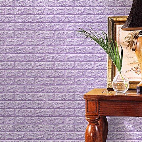 Preisvergleich Produktbild HCFKJ 2017 Mode 3D Wandpaneele Steinoptik, YTAT 3D Ziegelstein Tapete, Ziegel Tapete, Brick Muster Tapete, Selbstklebend Steinoptik, Brick Pattern Wallpaper für Schlafzimmer Wohnzimmer Moderne tv Schlafzimmer Wohnzimmer Dekor , 60*60cm (lila)