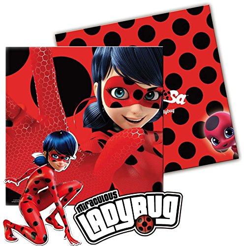 Lot de 20serviettes «Ladybug» pour anniversaire d'enfant ou soirée sur le thème des super héros