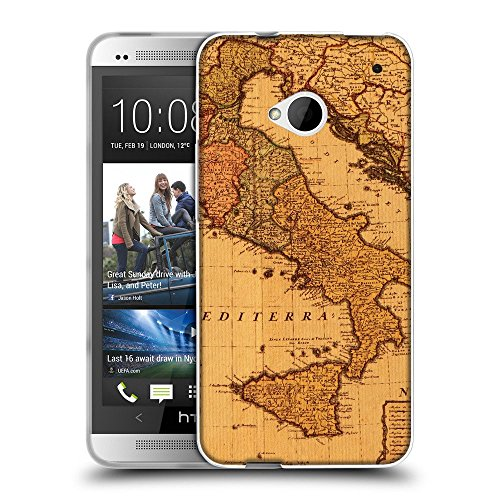 Super Galaxy Schutz Hülle TPU Case Schutzhülle Silikon Tasche Dünn Transparent // V00002382 Antike Karte Italien // HTC One M7 (Antike Karten Italien)