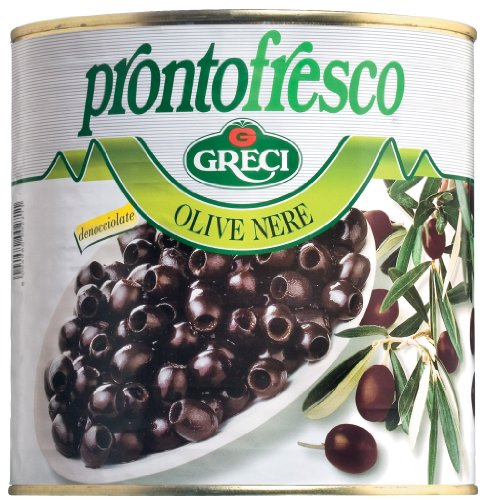 Greci Olive nere / schwarze Oliven ohne Stein 2600 gr. / 1200 gr. Abtropfgewicht
