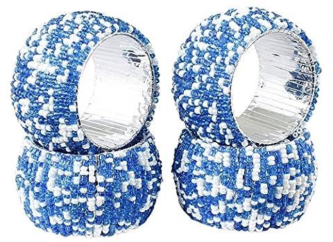 Satz von 4 - Türkis Weiß Perlen Serviettenringe Aus Durchmesser - Hausgemachten Serviettenringe - Durchmesser 6,5